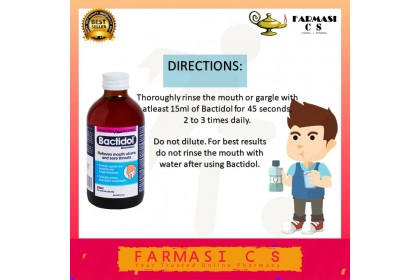 Bactidol Mouthwash Antibacterial plus Antifungal 250ml EXP:08/2022 [Relieves mouth ulcers, sore throats and infections]